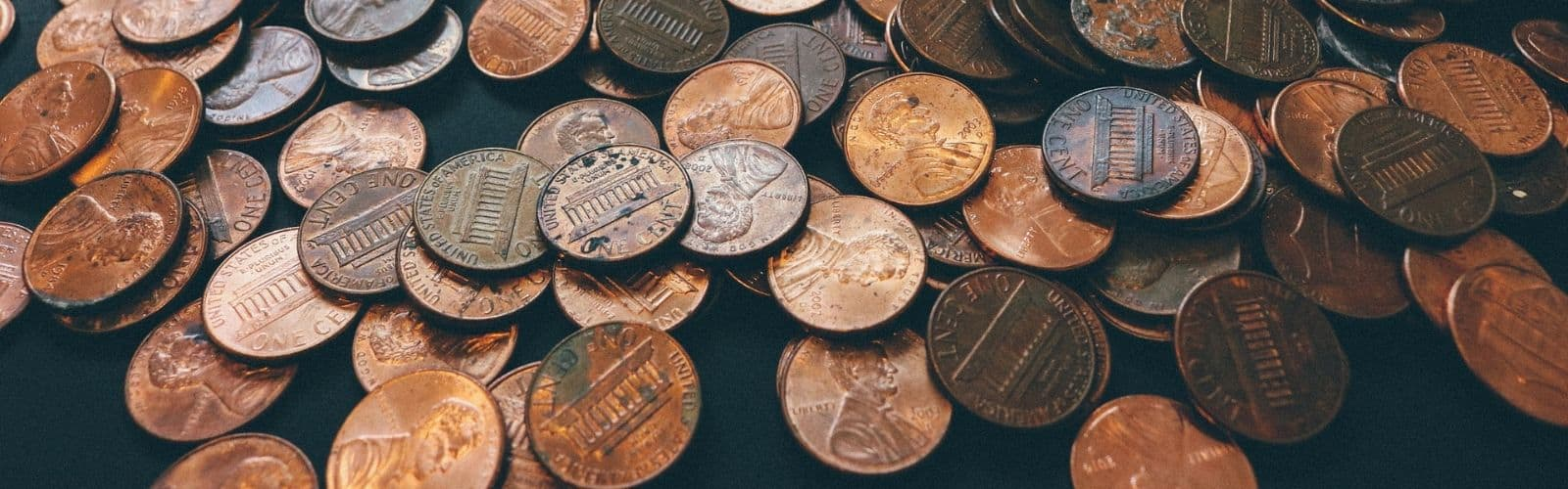 pennies on a table