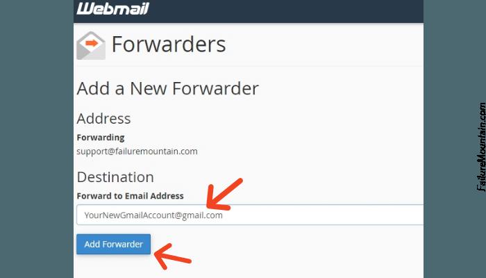 bluehost webmail set forwarding address.