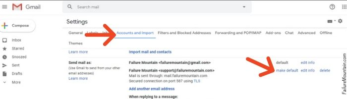 Gmail make alias default email address.