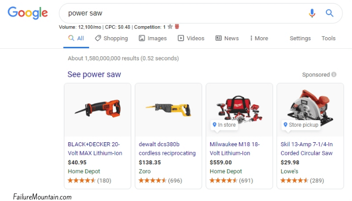 power saw google shopping example