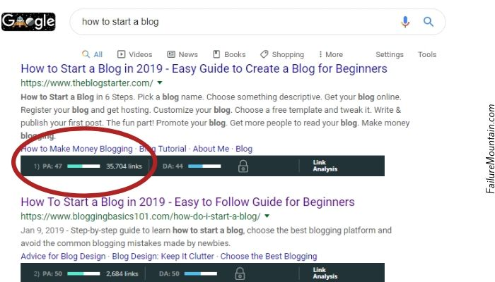 "serp for ""How to start a blog"" example of how domain authority helps you rank."