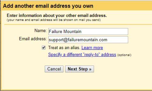Gmail add an alias email address