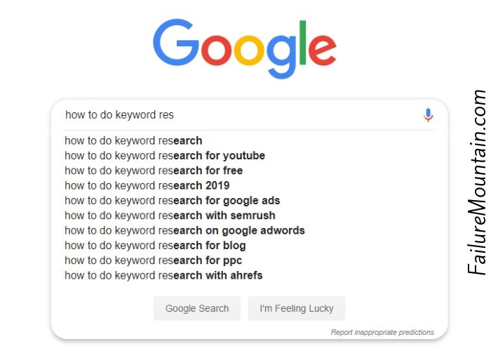 Google autocomplete example