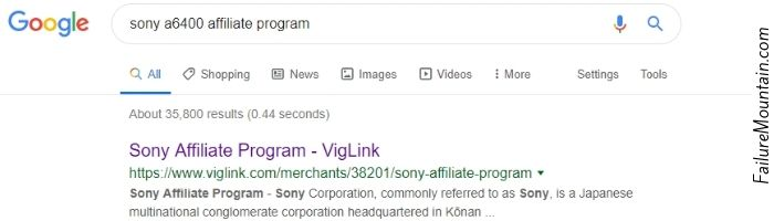 google results showing a sony affiliate program link.