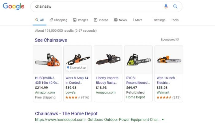 SERP for the word chainsaw example