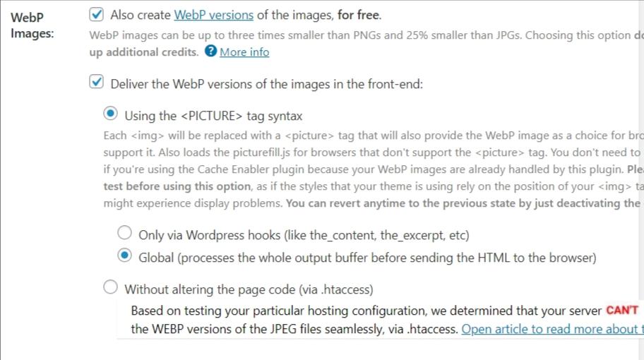 shortpixel wordpress plugin advanced settings.