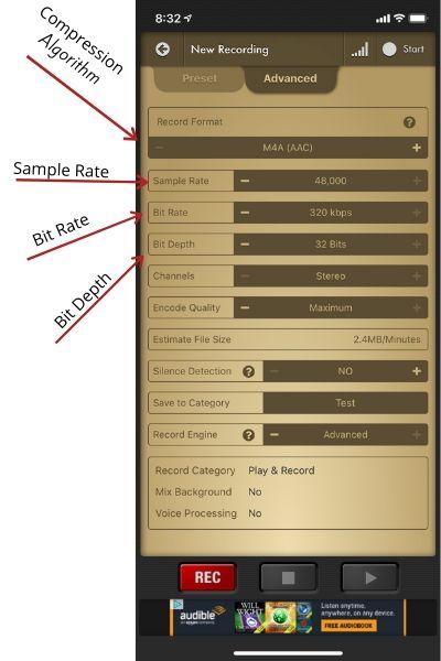 Voice Record Pro set Compression algorithm, sample rate, bit rate, and bit depth.