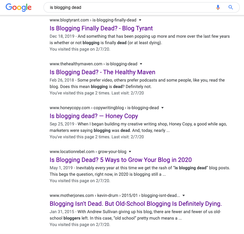 google search results for is blogging dead.