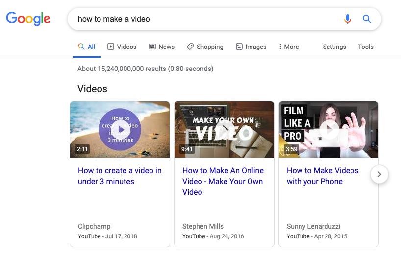google search results with youtube videos at top.