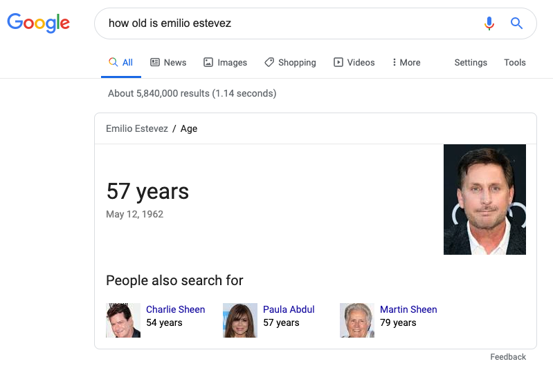 example of Google snippet showing age.