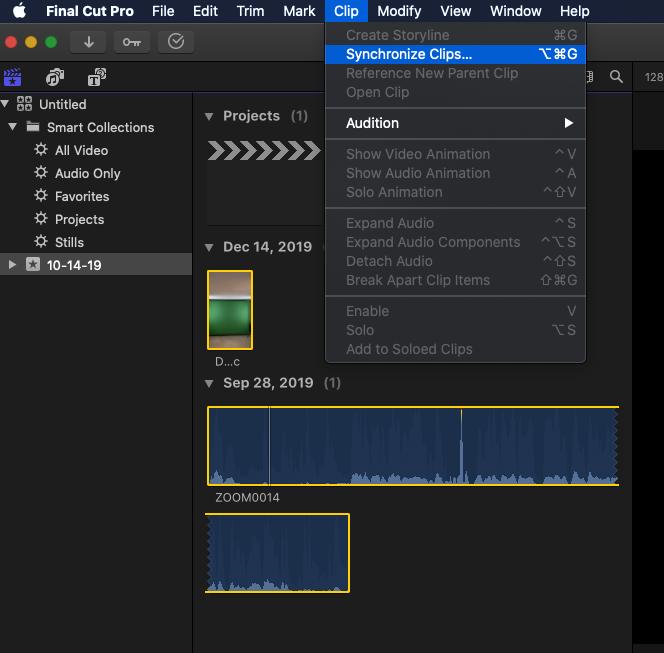 final cut pro syncing audio tracks.