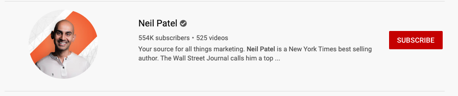 neil patels youtube subscribers