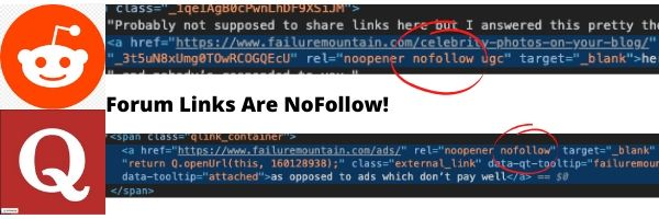 Reddit and Quora are nofollow links