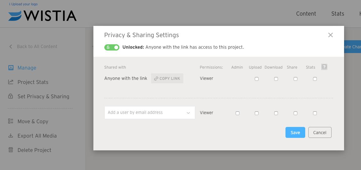 Wistia simple privacy settings