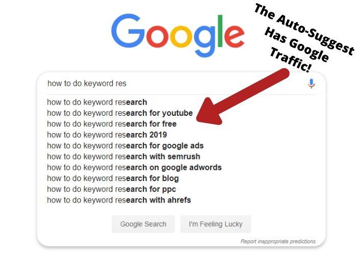 Google keyword auto suggest