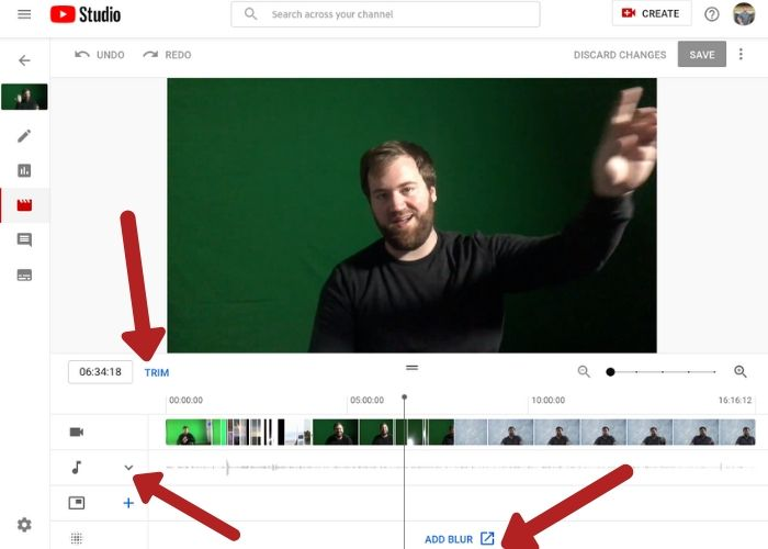 Example of YouTube Editor