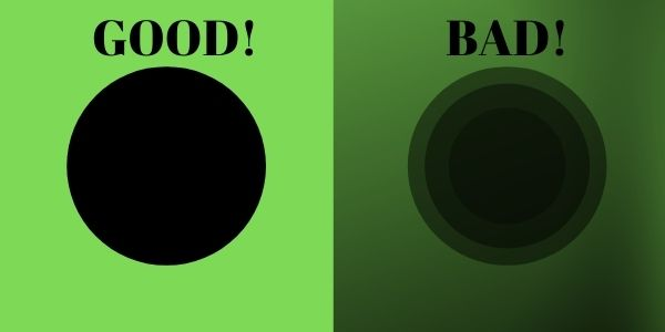 example of good and bad green screen.