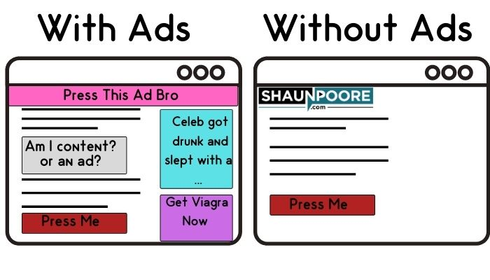 Call to action with and without ads