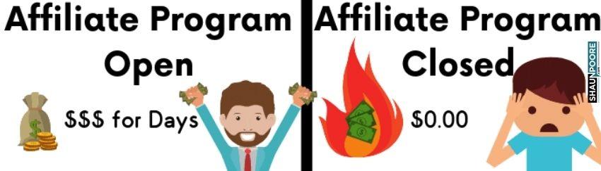 affiliate program closed feeling