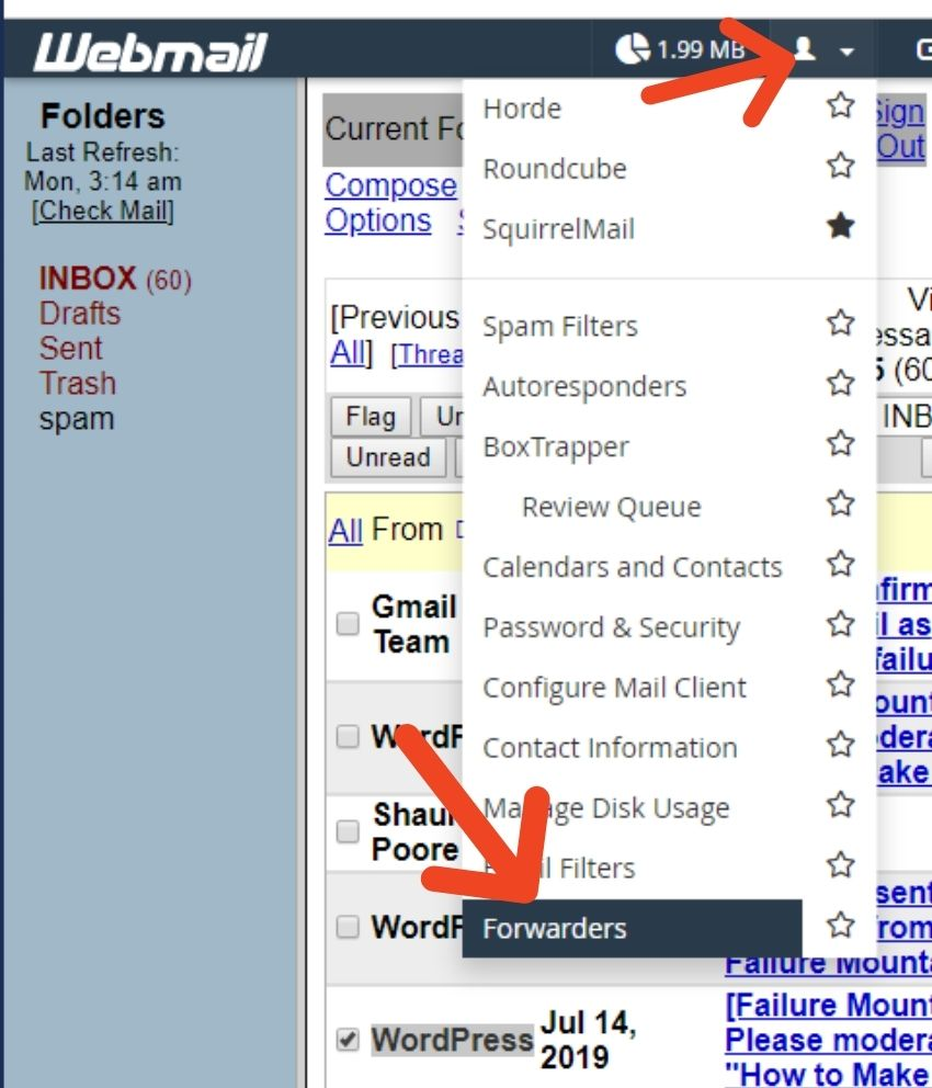 bluehost setup webmail forwarder
