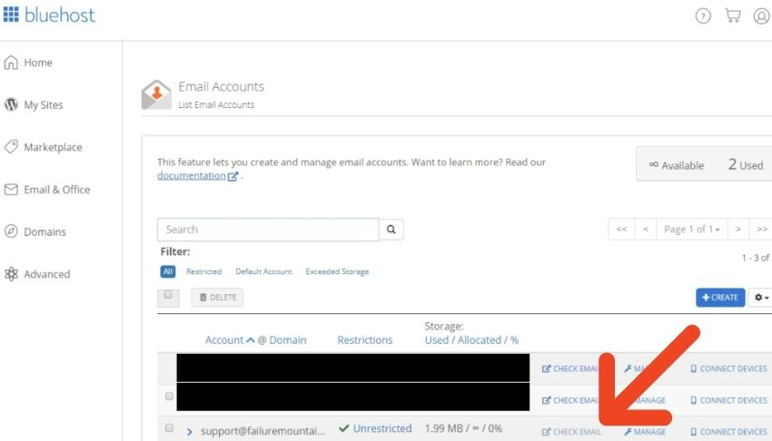 bluehost check email address
