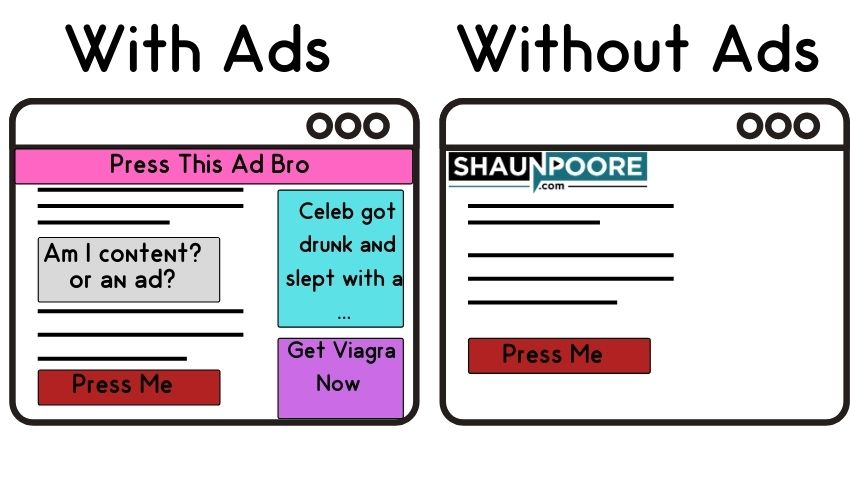 Calls to action get buried with ads.