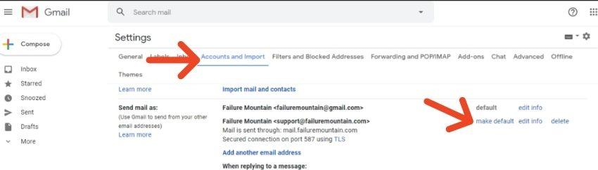 Gmail make alias default email address.