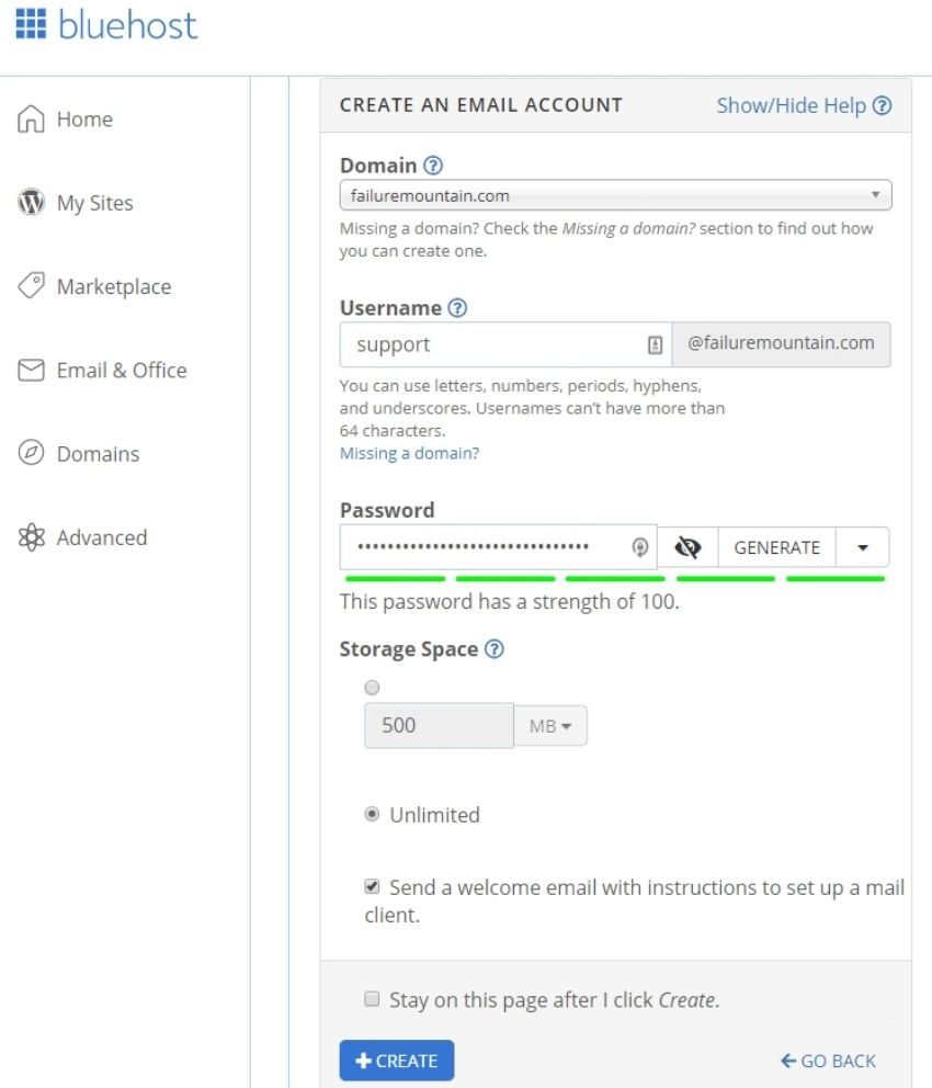 Bluehost create a new email account page 1