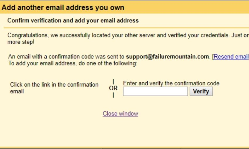 gmail alias confirmation window